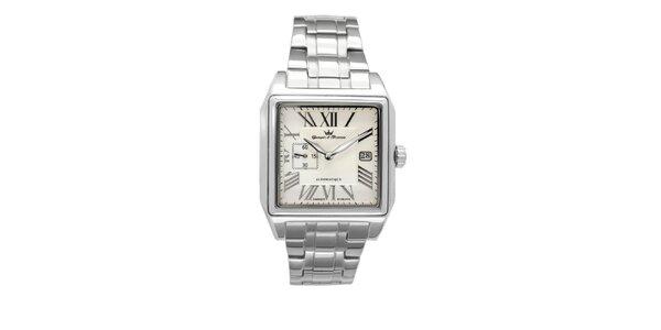 Pánske oceľové štvorcové hodinky Yonger & Bresson s béžovým ciferníkom