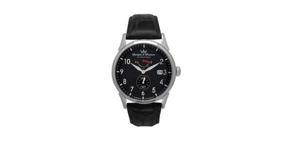 Pánske čierne hodinky Yonger & Bresson s koženým remienkom