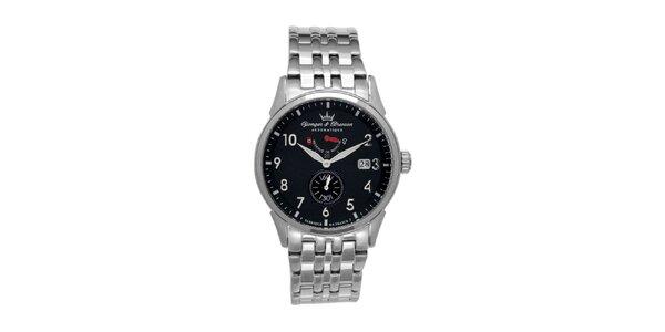 Pánske oceľové hodinky Yonger & Bresson s guľatým čiernym ciferníkom