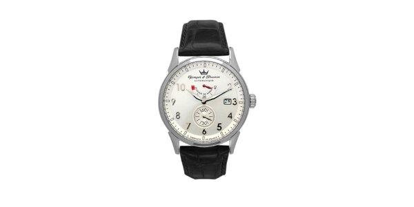 Pánske oceľové hodinky Yonger & Bresson s koženým remienkom a guľatým ciferníkom