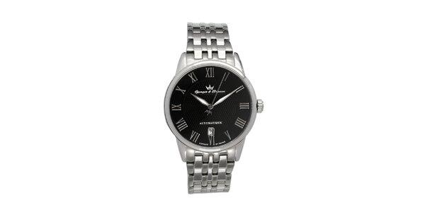 Pánske hodinky Yonger & Bresson s guľatým čiernym ciferníkom z ocele