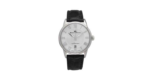Pánske hodinky s guľatým strieborným ciferníkom Yonger & Bresson