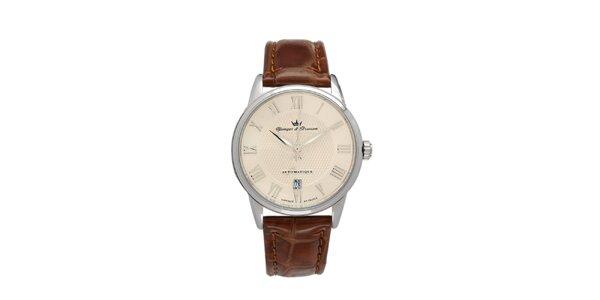 Pánske hodinky s guľatým béžovým ciferníkom Yonger & Bresson s koženým remienkom