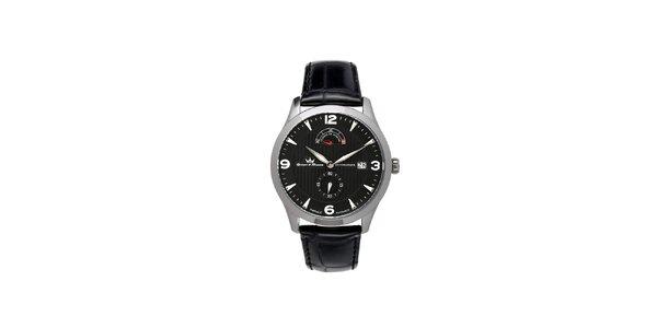Pánske čierne hodinky Yonger & Bresson s koženým remienkom s oceľovým púzdrom
