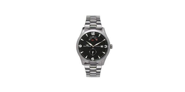 Pánske multifunkčné strieborné oceľové hodinky Yonger & Bresson s čiernym…