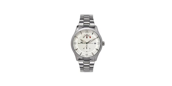 Pánske multifunkčné strieborné oceľové hodinky Yonger & Bresson s kovovým…