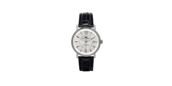 Pánske strieborné oceľové hodinky Yonger & Bresson so šedým ciferníkom