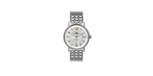 Pánske strieborné oceľové hodinky Yonger & Bresson s kovovým remienkom