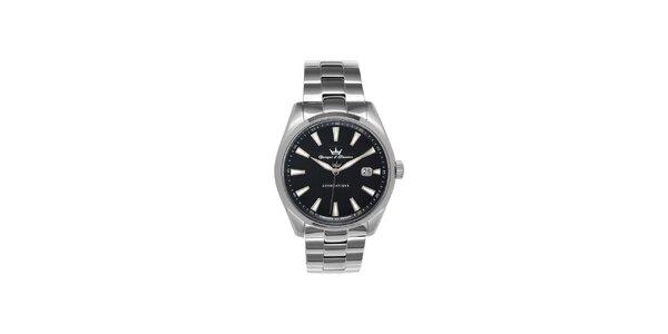 Pánske strieborné oceľové hodinky Yonger & Bresson s čiernym ciferníkom