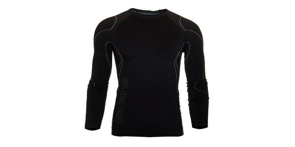 Pánske čierne termo tričko Iguana s šedivými detailami