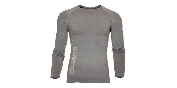Pánske svetlo šedé termo tričko Iguana s potlačou