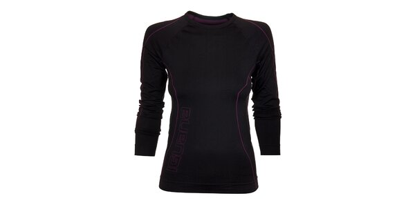 Dámske čierne termo tričko Iguana s fialovými detailami