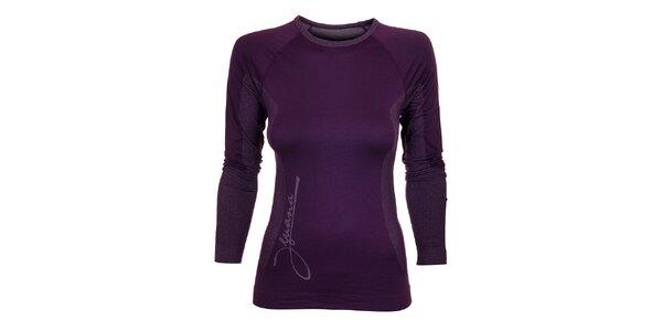 Dámske tmavo fialové termo tričko Iguana s potlačou