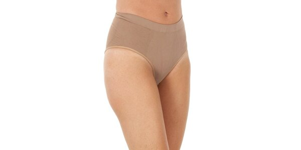 Set troch dámskych béžových vykrojených nohavičky Marie Claire s vysokým pásom
