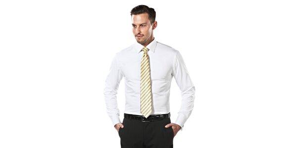 Pánska biela obleková slim-fit košeľa Vincenzo Boretti