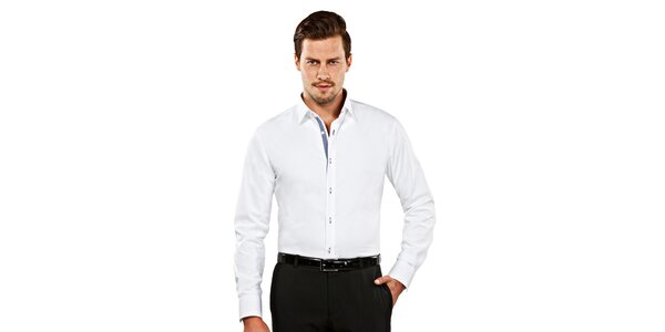 Pánska biela slim-fit košeľa s kockovaným detailom Vincenzo Boretti