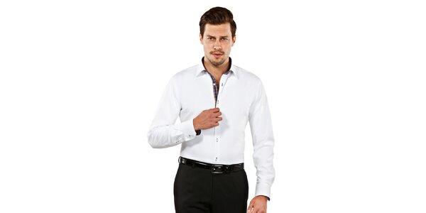 Pánska biela slim-fit košeľa s kockovanými detailmi Vincenzo Boretti