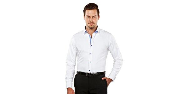 Pánska biela slim-fit košeľa s modrými detailmi Vincenzo Boretti