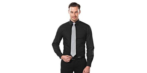 Pánska čierna obleková slim-fit košeľa Vincenzo Boretti
