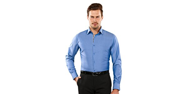 Pánska modrá slim-fit košeľa s hnedými detailmi Vincenzo Boretti