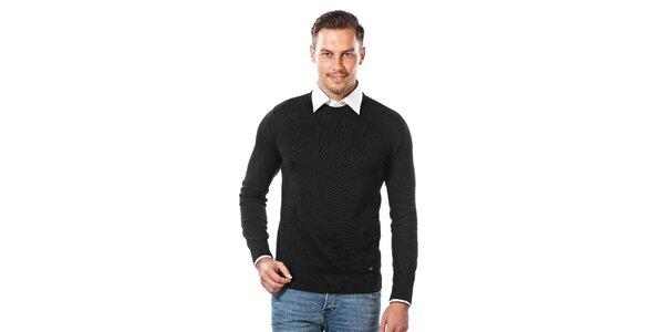 Pánsky čierny sveter s guľatým výstrihom Vincenzo Boretti