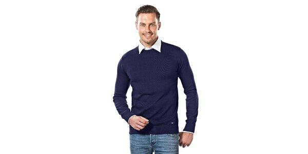 Pánsky tmavo modrý sveter s guľatým výstrihom Vincenzo Boretti