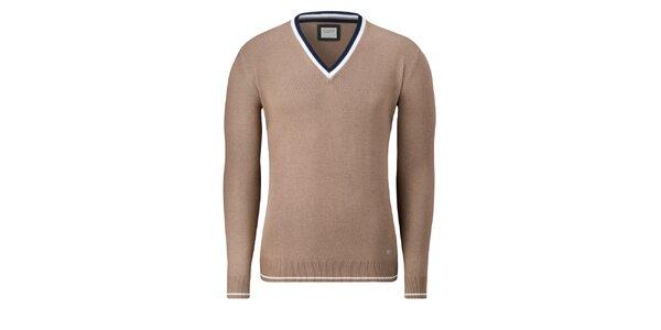 Pánsky svetlo hnedý sveter Vincenzo Boretti s bielym prúžkom