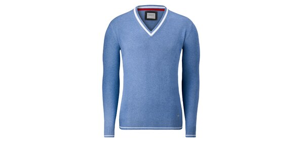 Pánsky svetlo modrý sveter Vincenzo Boretti s bielym prúžkom