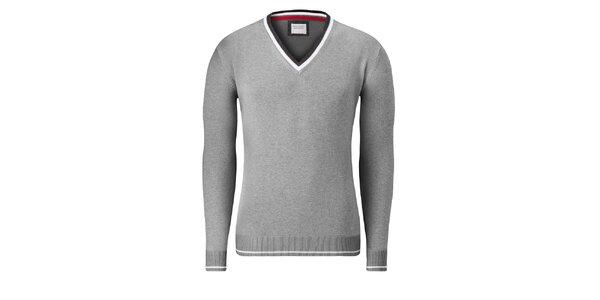 Pánsky svetlo šedý sveter Vincenzo Boretti s bielym prúžkom