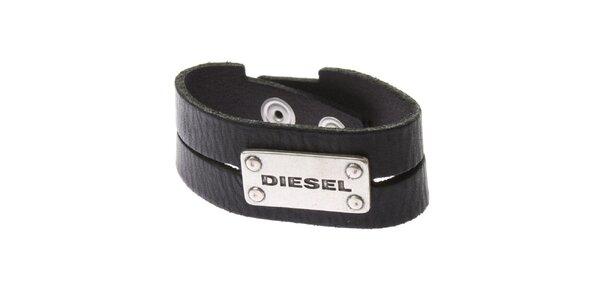 Čierny kožený náramok Diesel