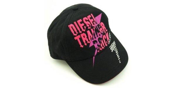 Čierna šiltovka Diesel s ružovým nápisom