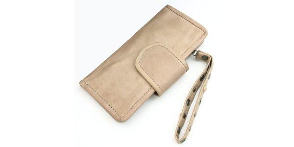 Krémová kožená peňaženka Diesel s pútkom