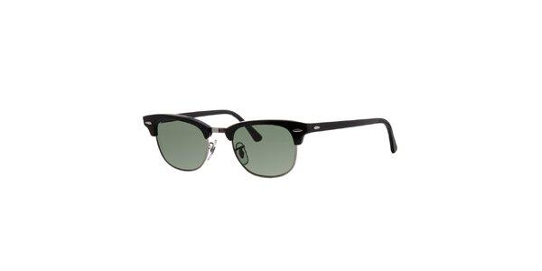 Čierne slnečné okuliare Ray-Ban so striebornými obrúčkami