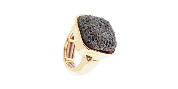 Dámsky prsteň s tmavo šedým kryštáľom Majique