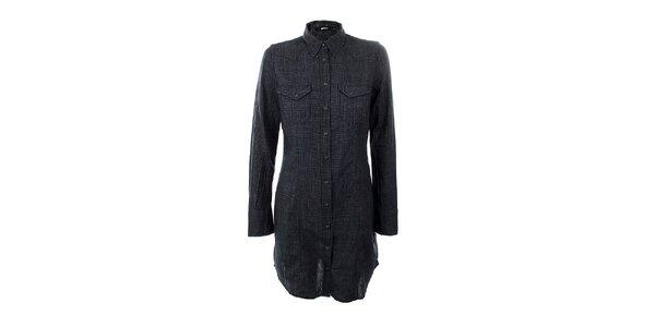 Dámske šedo-čierne košeľové šaty GAS