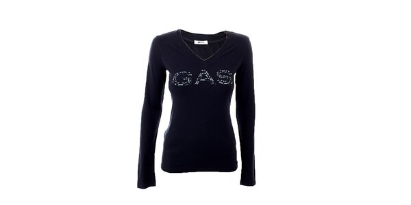 Dámske šedo-modré tričko s potlačou GAS