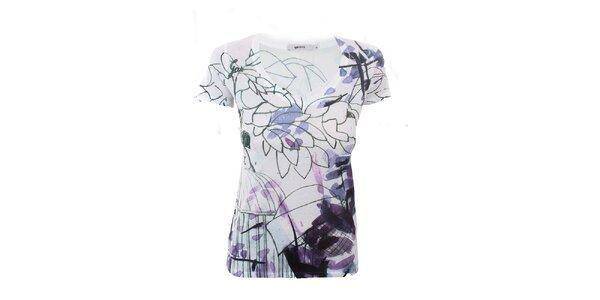 Dámske bielo-fialové kvetinové tričko GAS
