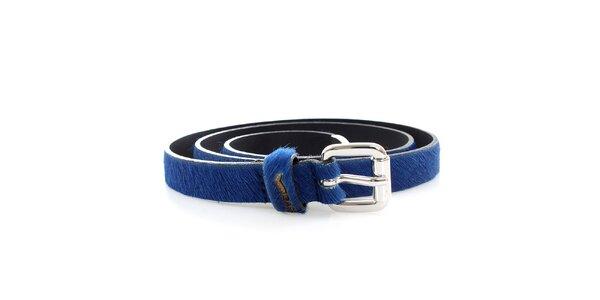 Dámsky modrý opasok s kožušinkou GAS