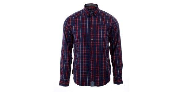 Pánska modro-červená kockovaná košeľa GAS