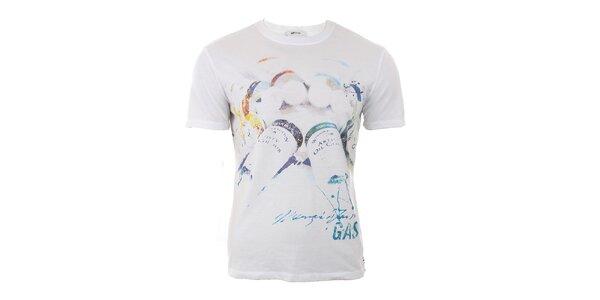 Pánske biele tričko s farebnou potlačou GAS