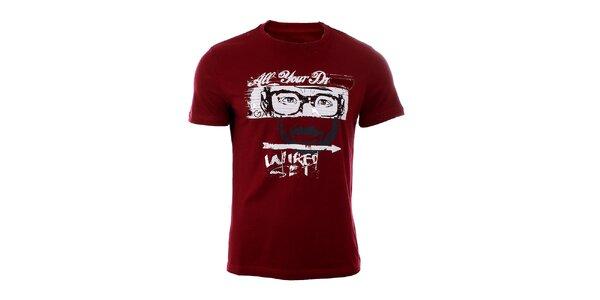 Pánske tmavo červené tričko GAS s potlačou