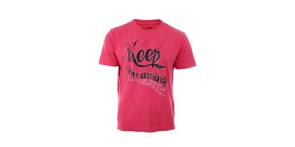 Pánske červeno-ružové tričko GAS s potlačou