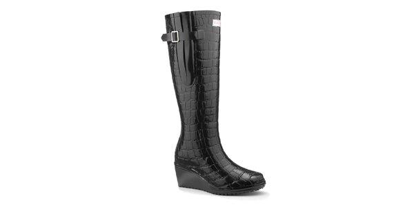 Dámske čierne lesklé čižmy na kline Wedge Welly Flex s kockovaným vzorom