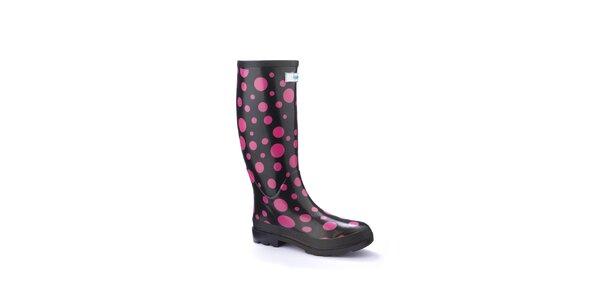 Dámske čierne úzke čižmy Splash by Wedge Welly s ružovými bodkami