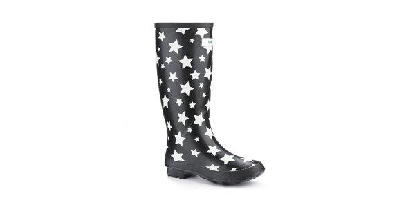 Dámske čierne čižmy Splash by Wedge Welly s hviezdičkami