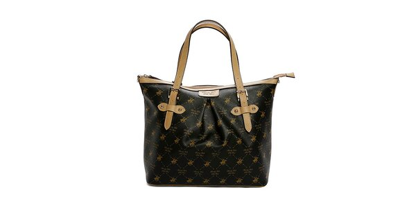 Dámska čierno-béžová kabelka s potlačou Beverly Hills Polo Club