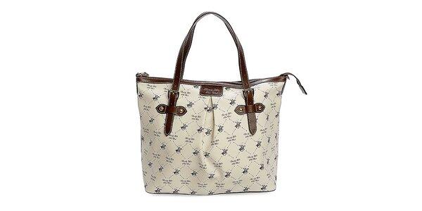 Dámska krémová kabelka s potlačou Beverly Hills Polo Club