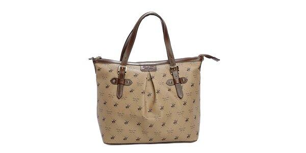 Dámska hnedobéžová kabelka s potlačou Beverly Hills Polo Club
