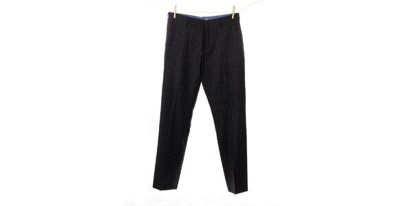 Pánske antracitovo šedé vlnené nohavice s prúžkom Tommy Hilfiger