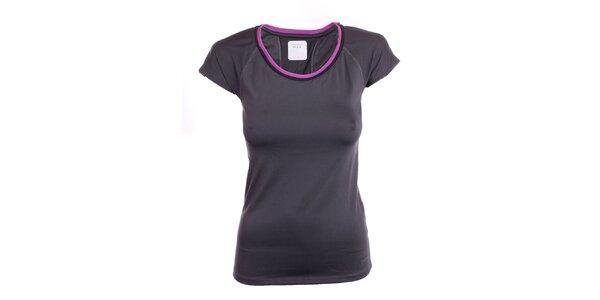 Dámske čierne tričko s fialovým lemom Freddy